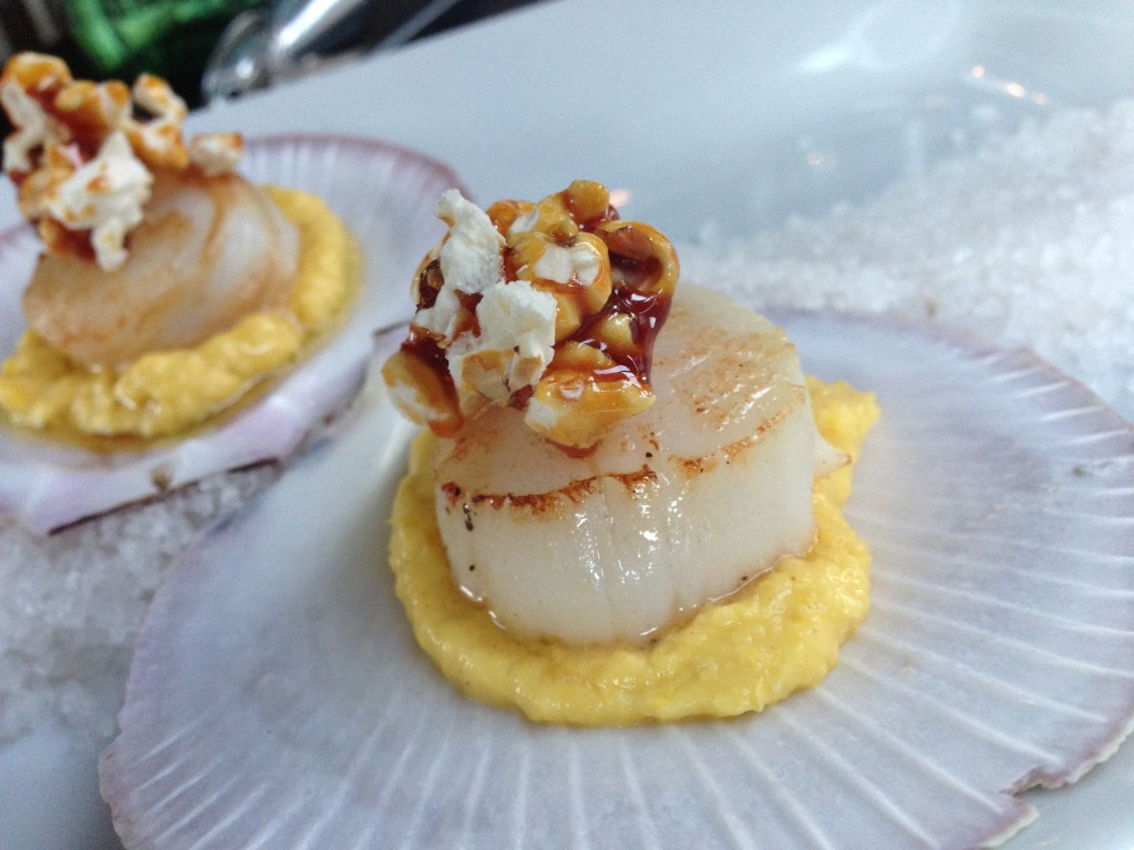 A Surprise! St Elmo's Scallops with caramelised popcorn and corn. Delicious!