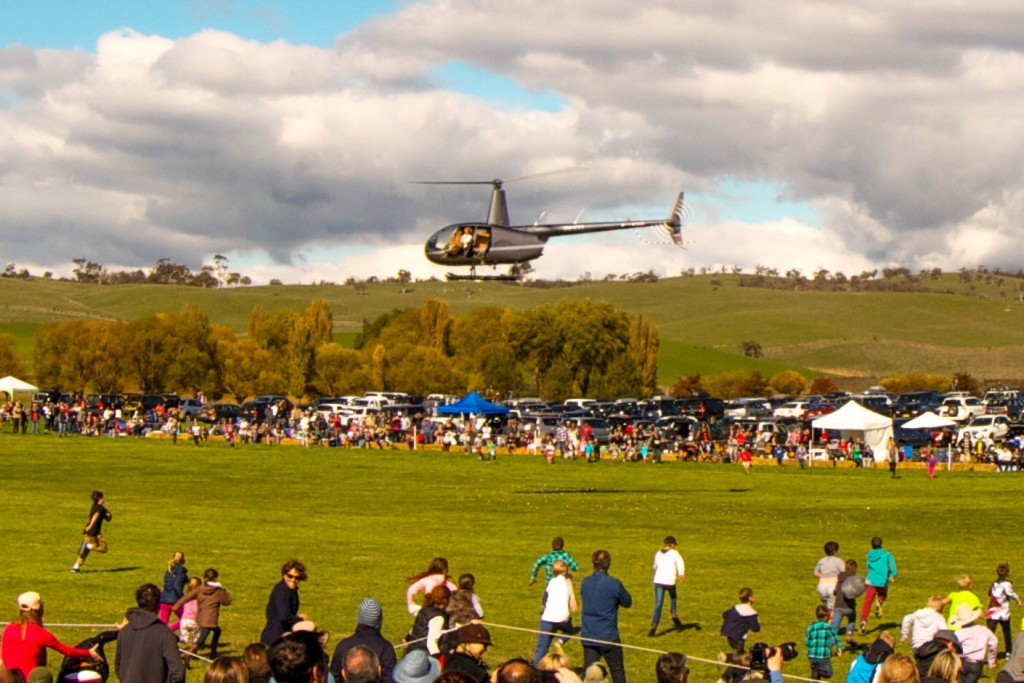 Geebung Polo Club Helicopter Easter Egg Drop, Dinner Plain, Victoria, Australia.