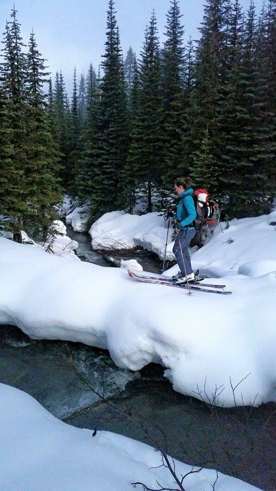 Kimber loving the challenge of Back Country Skiing, Squamish, Canada.