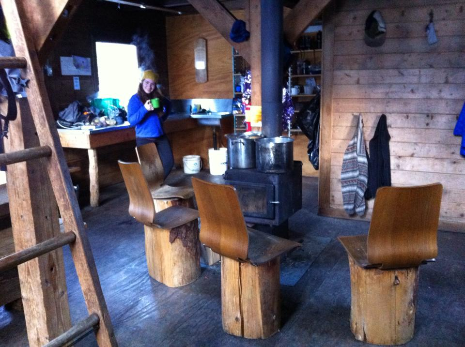Keiths Hut Dining area. A place to get to know other adventurers, Squamish, Canada.