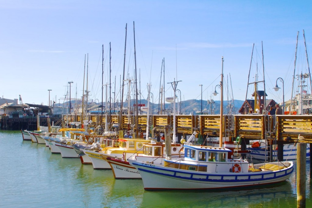 Colourful boats at Fishermans Wharf, San Francisco, California, USA