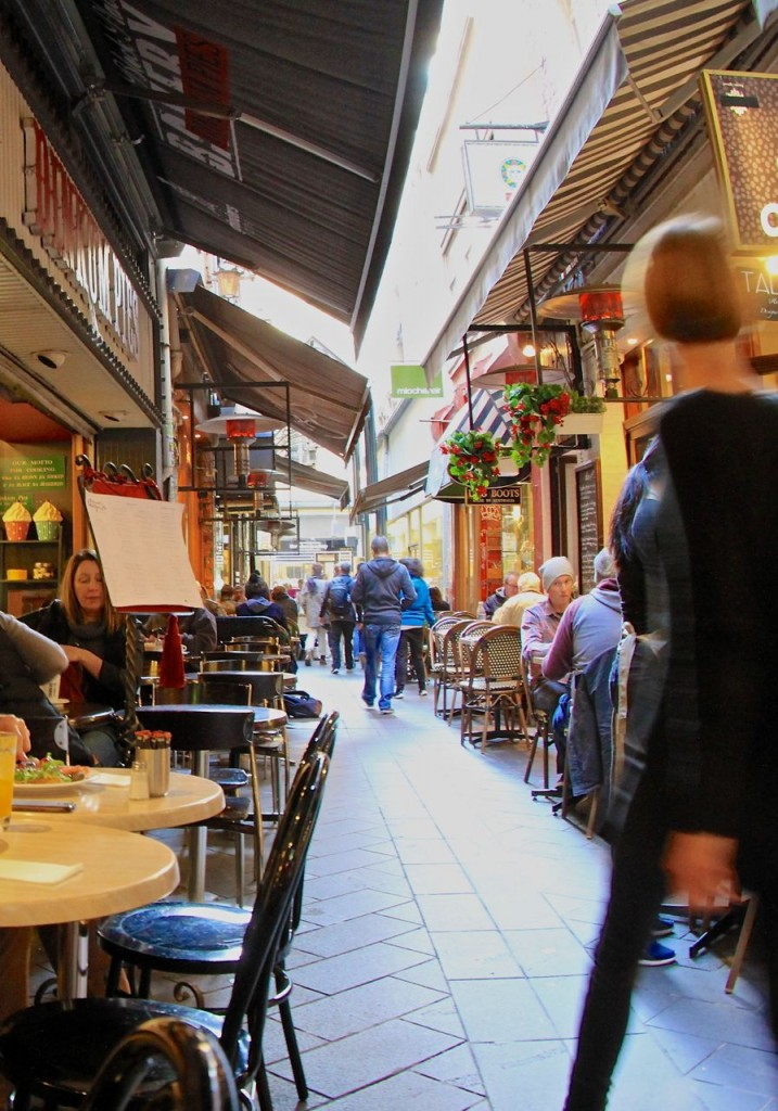 Narrow laneways filled with enticing cafes, Melbourne, Vic, Australia.