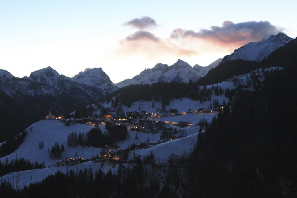 The view to the next village from Selva di Cadore, Dolomites, Italy.