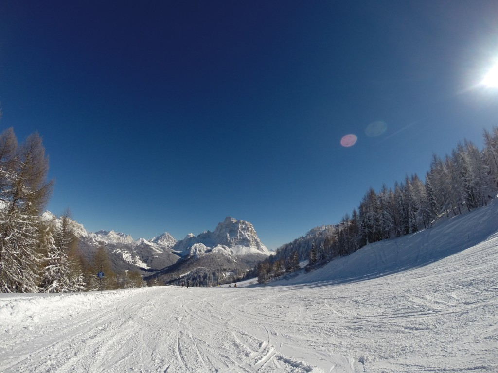 Picture perfect skiing at Selva di Cadore, Bolomites, Italy.