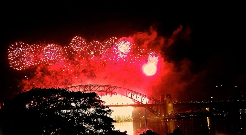 Fireworks on New Years Eve. Sydney, NSW, Australia.