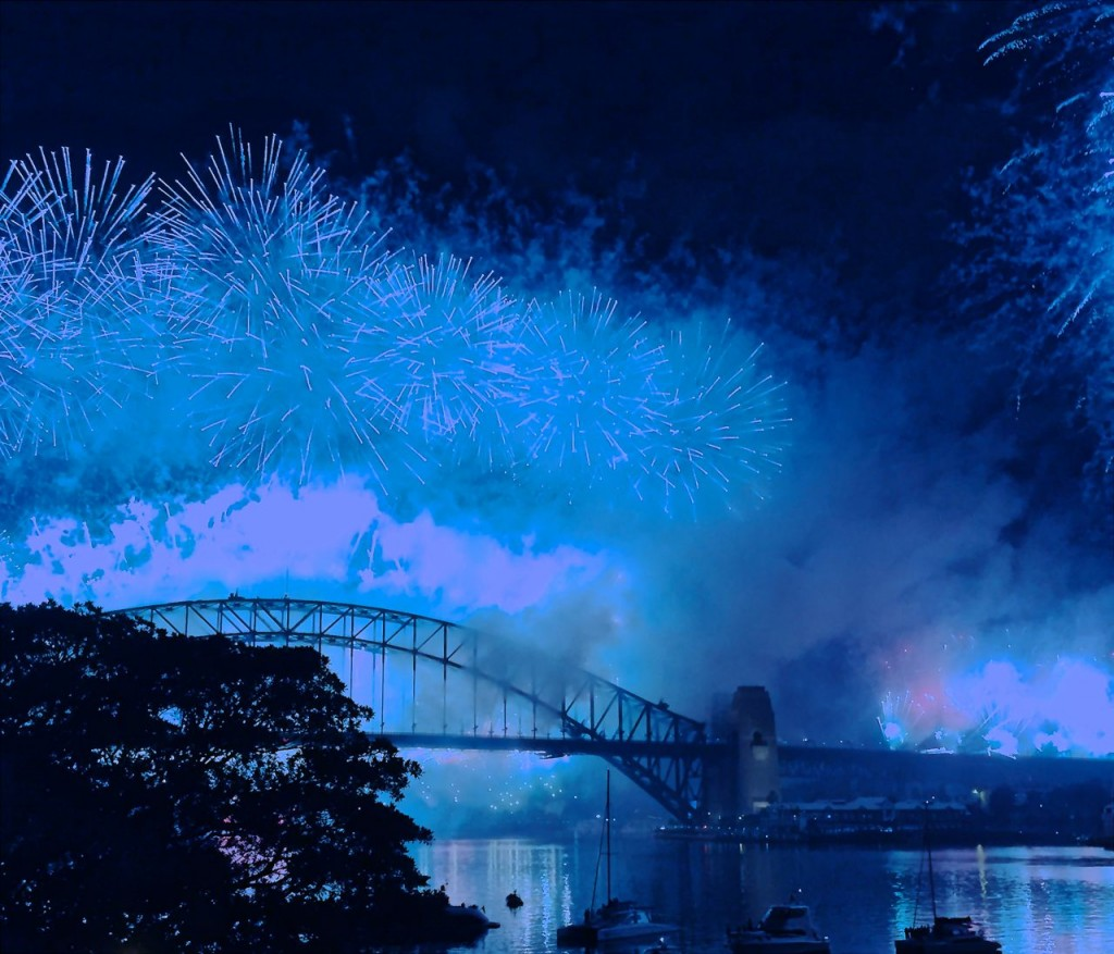 The Harbour Bridge Fireworks on New Years Eve. Sydney, NSW, Australia.