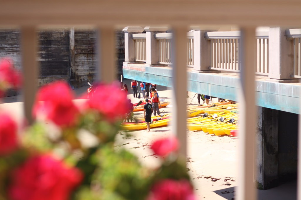 Kayaks for hire at the Monterey Inn in Monterey, California, USA.