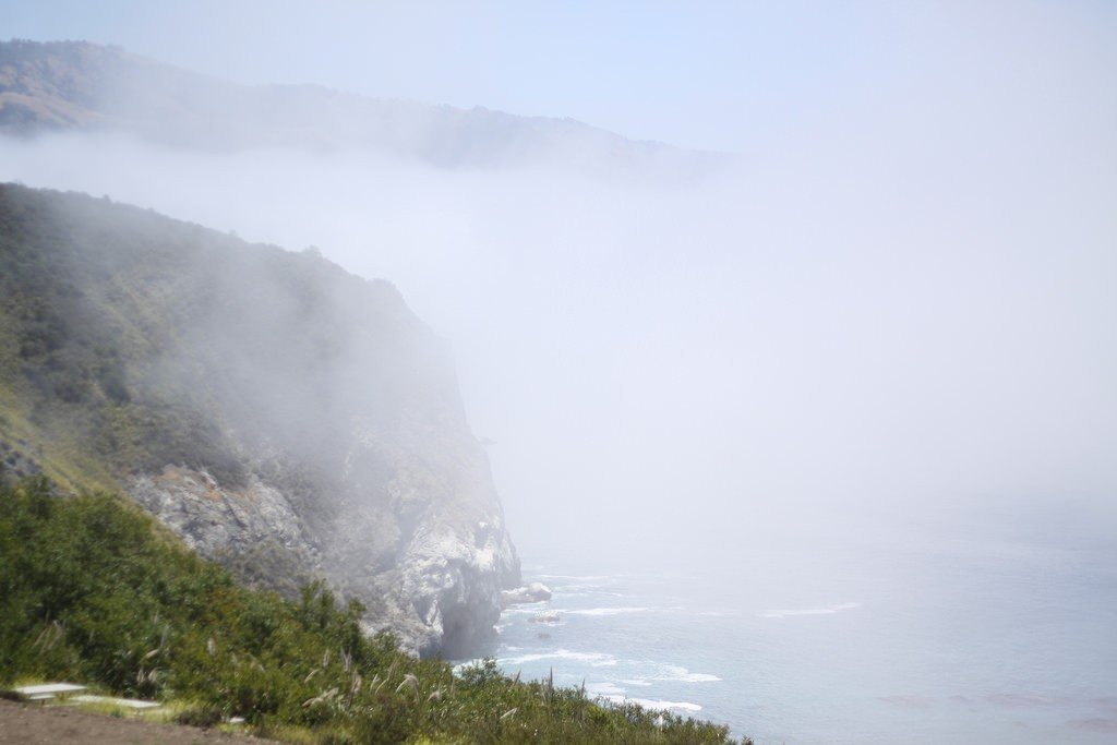 View of the foggy coast near Lucia on the Pacific Coast Highway in California, USA.