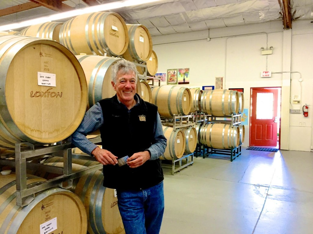 Chris Loxton in the Tasting Cellar, Loxton, Sonoma, California, USA.